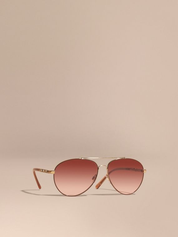 Check Detail Aviator Sunglasses Pale Gold