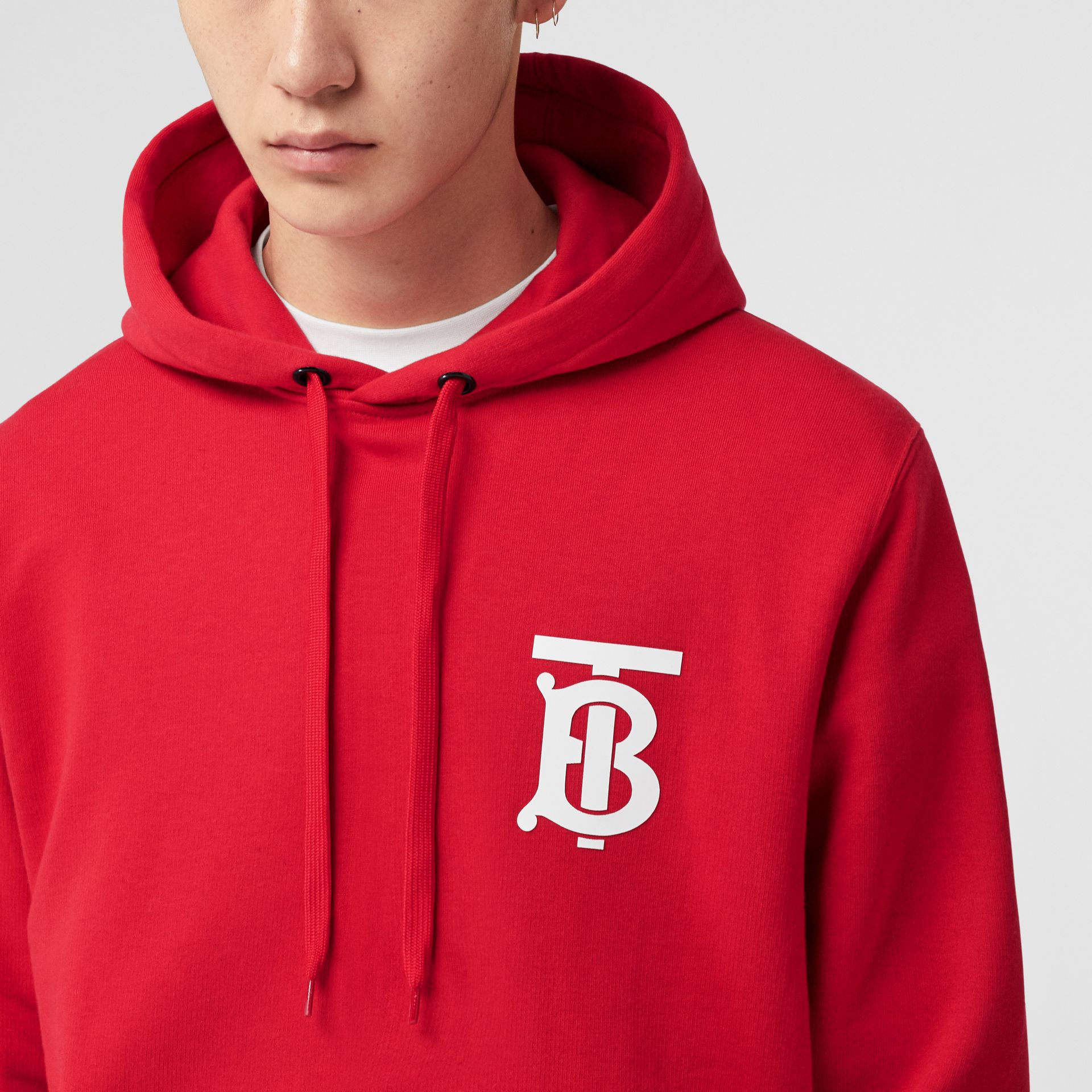 Monogram Motif Cotton Hoodie in Bright Red - Men | Burberry United Kingdom - gallery image 5