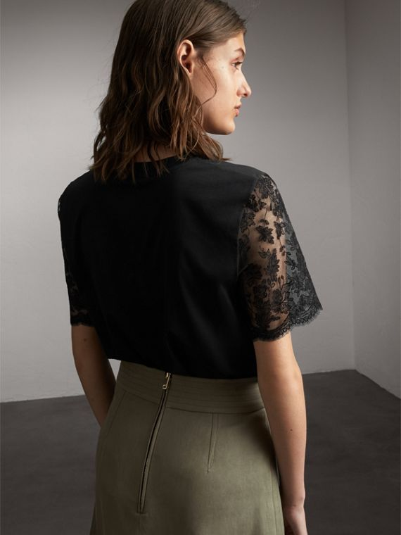 Cotton T-Shirt with Embroidered Tulle Sleeves - Women | Burberry - cell image 2