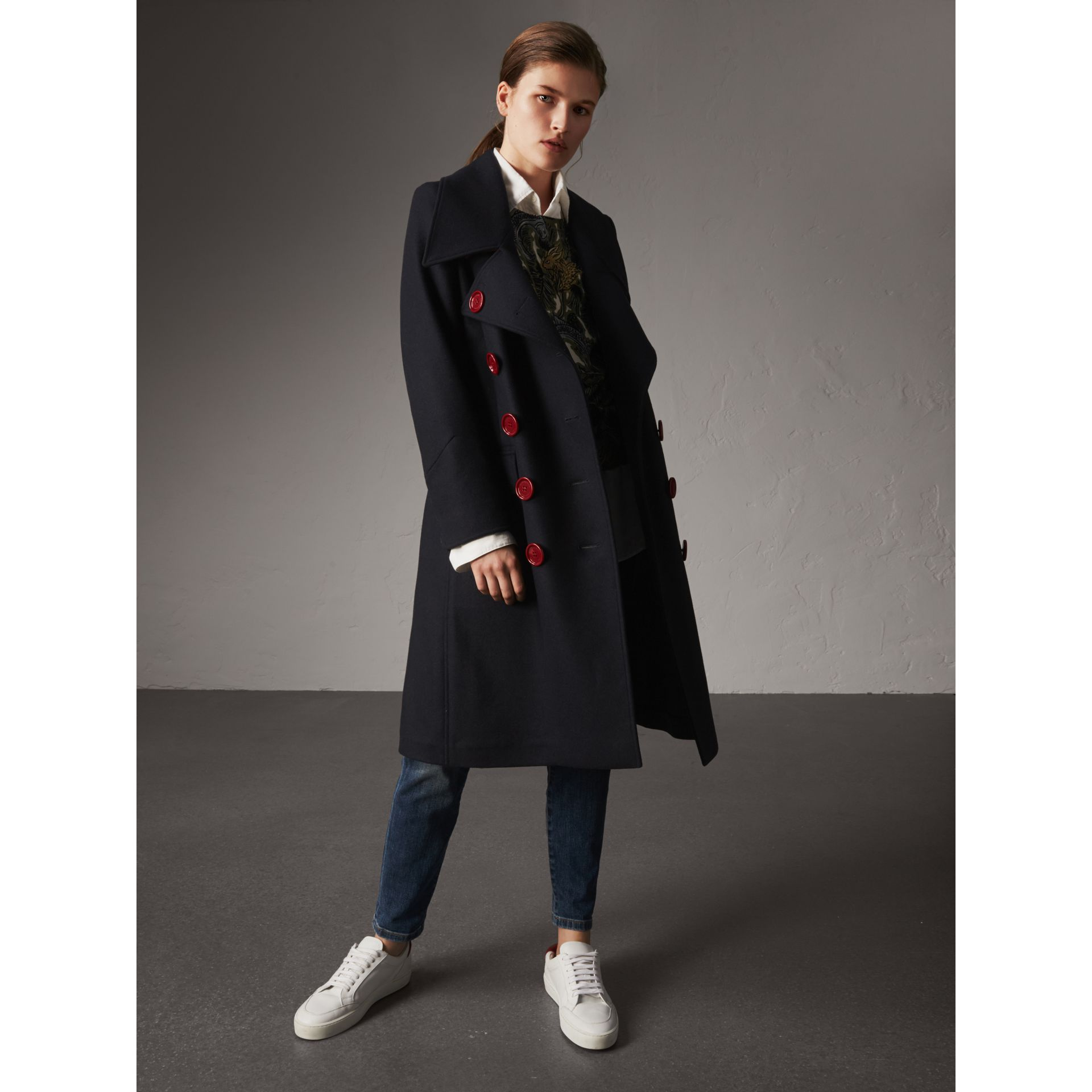 Resin Button Wool Oversize Coat in True Navy - Women | Burberry - gallery image 1