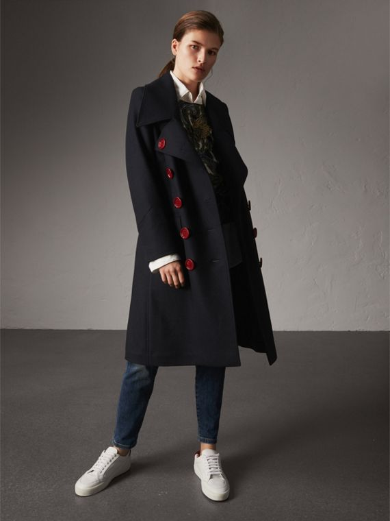 Resin Button Wool Oversize Coat in True Navy