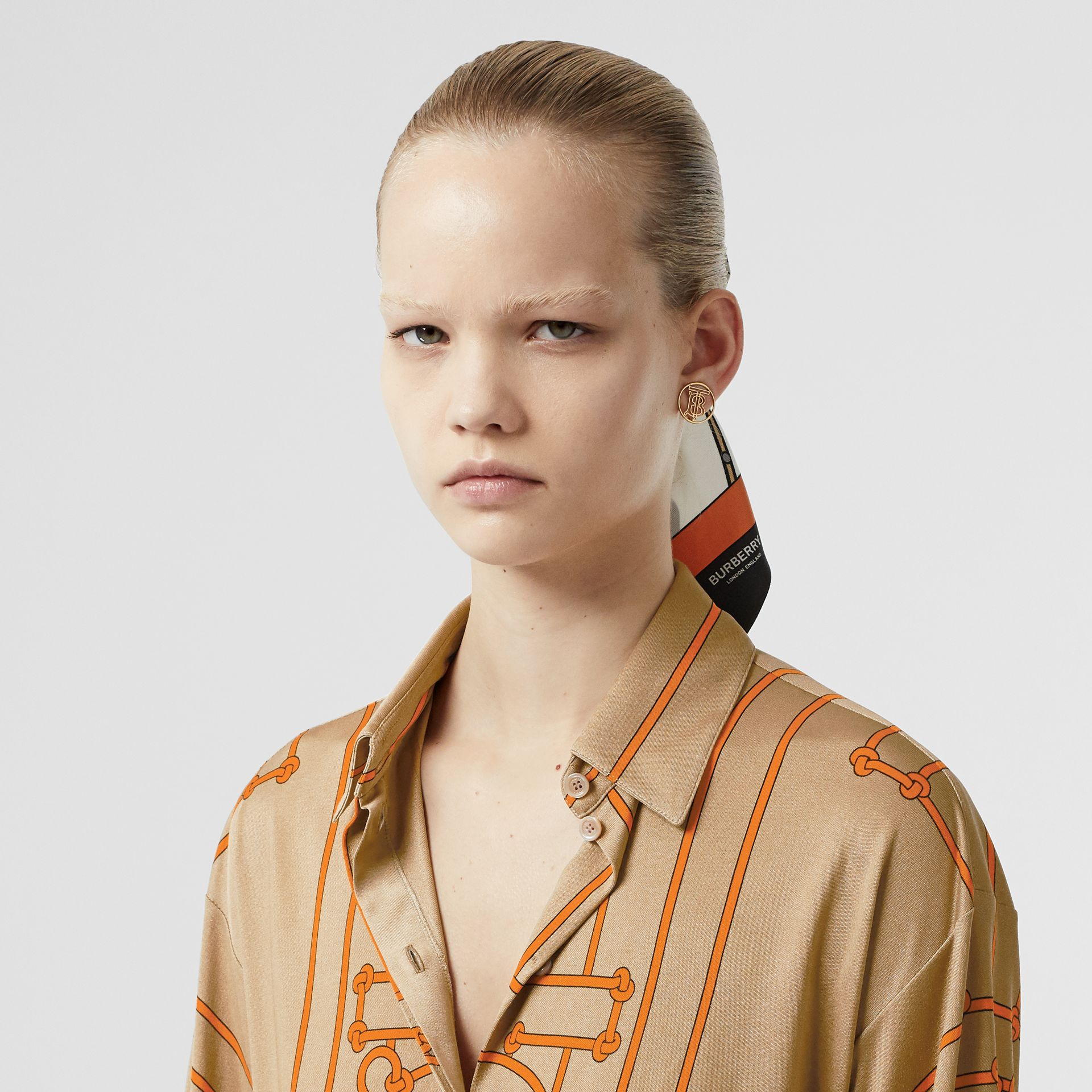Monogram Motif Rope Print Stretch Silk Shirt in Orange - Women | Burberry - gallery image 1