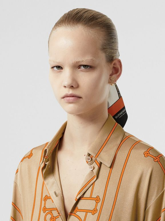 Monogram Motif Rope Print Stretch Silk Shirt in Orange - Women | Burberry - cell image 1