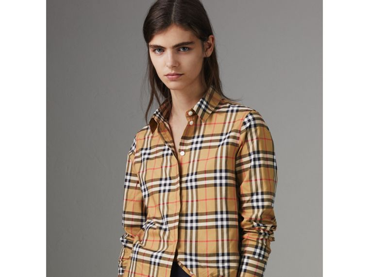 Vintage Check Cotton Shirt in Antique Yellow - Women | Burberry - cell image 4