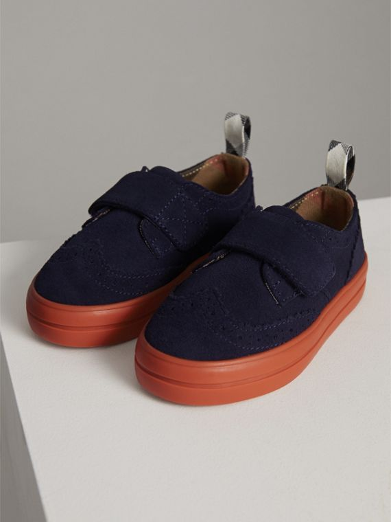 Two-tone Brogue Detail Suede Trainers in Blue Carbon | Burberry United Kingdom - cell image 3