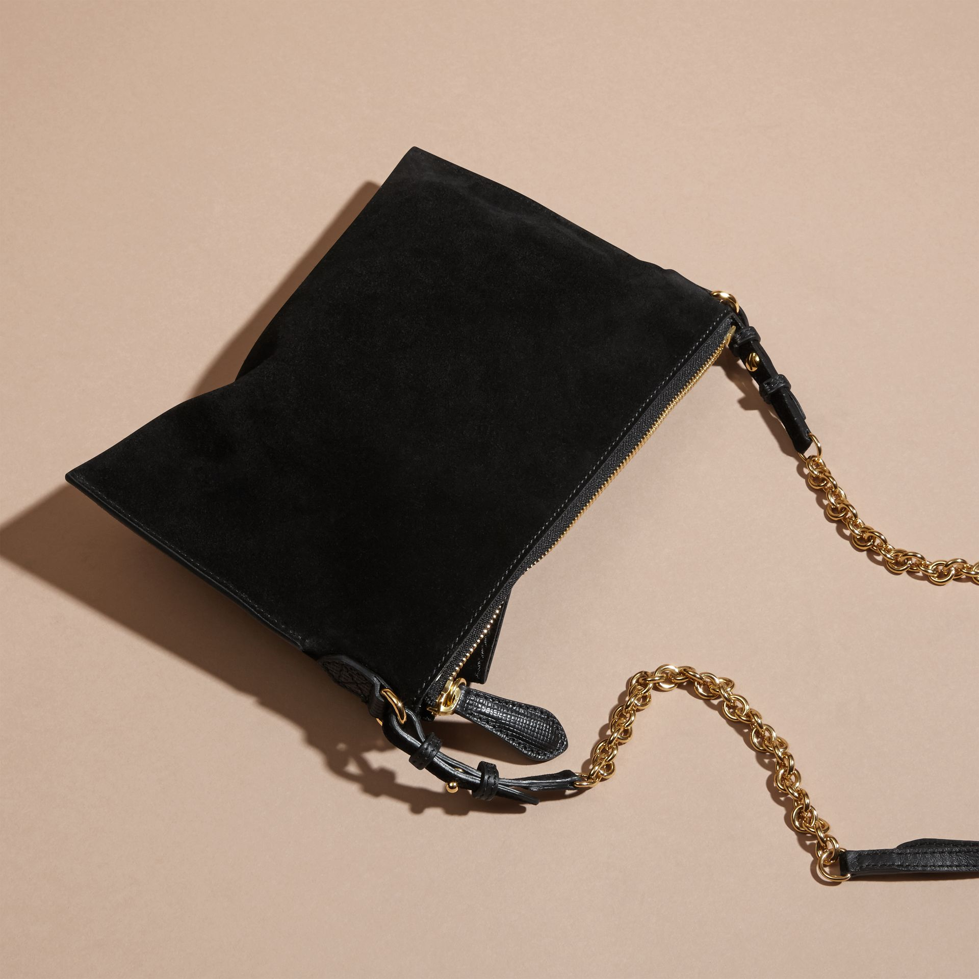 Suede Clutch Bag with Buckled Bow Detail in Black - gallery image 5