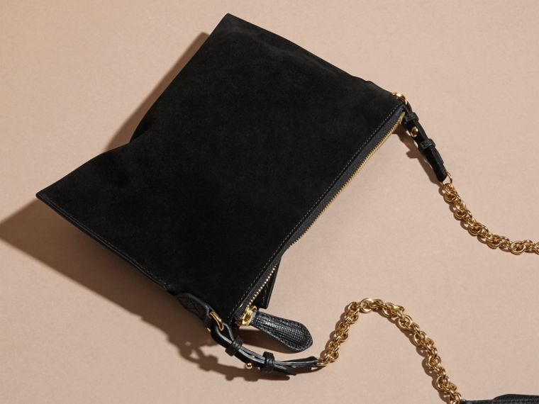 Suede Clutch Bag with Buckled Bow Detail in Black - cell image 4