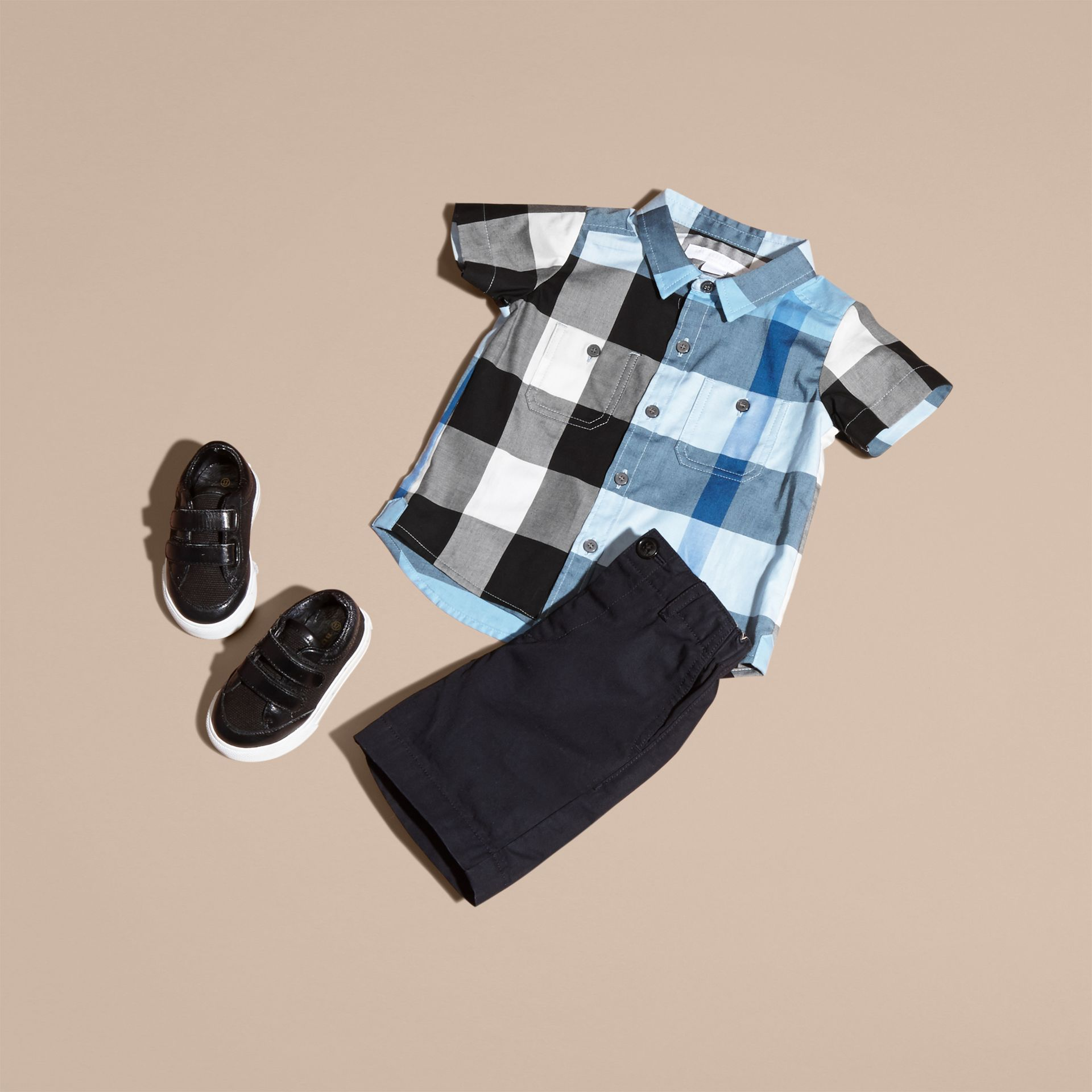 Short-sleeved Check Cotton Shirt Pale Blue - gallery image 5