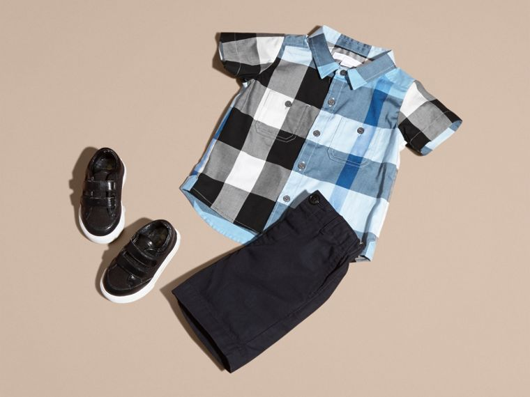 Short-sleeved Check Cotton Shirt Pale Blue - cell image 4