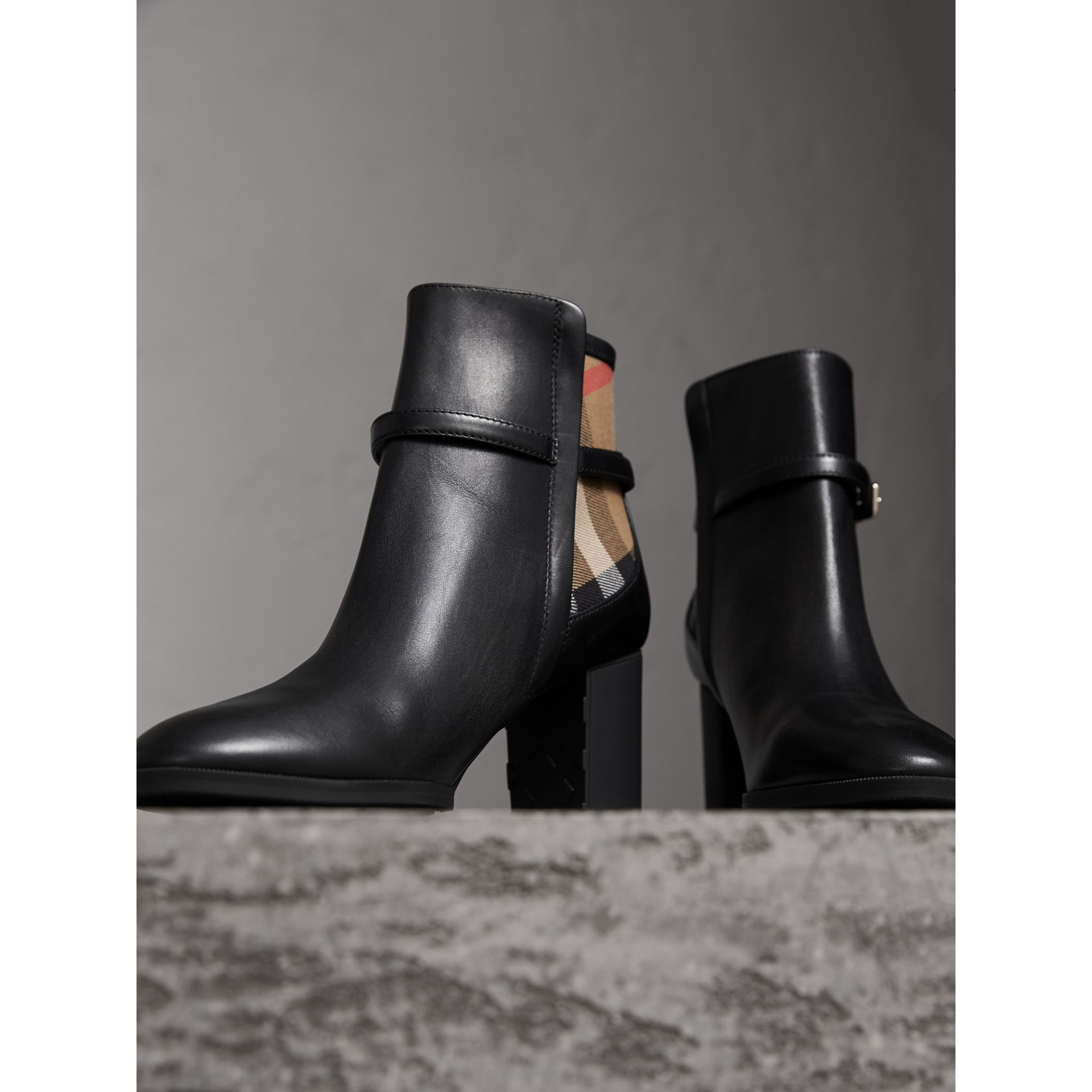 House Check and Leather Ankle Boots - Women | Burberry - gallery image 4