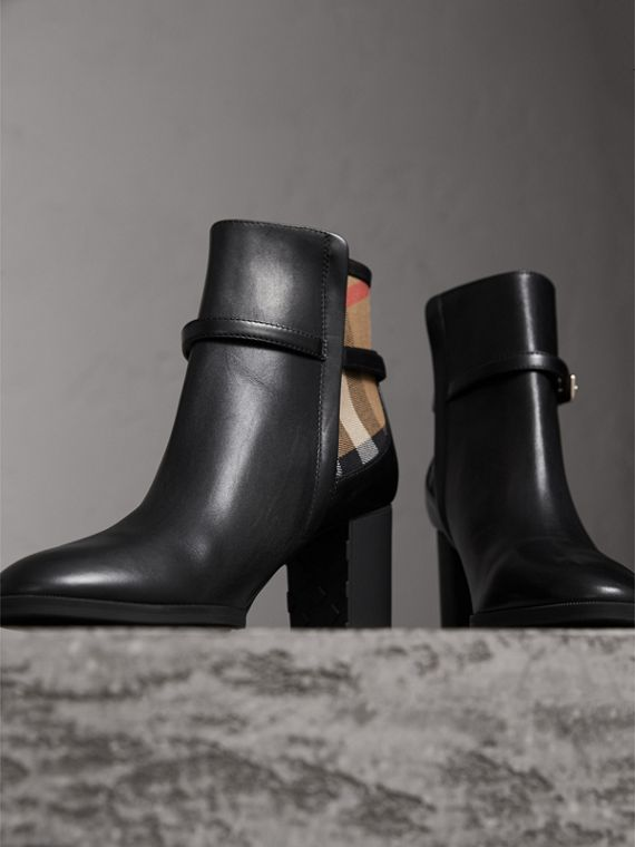 House Check and Leather Ankle Boots - Women | Burberry - cell image 3