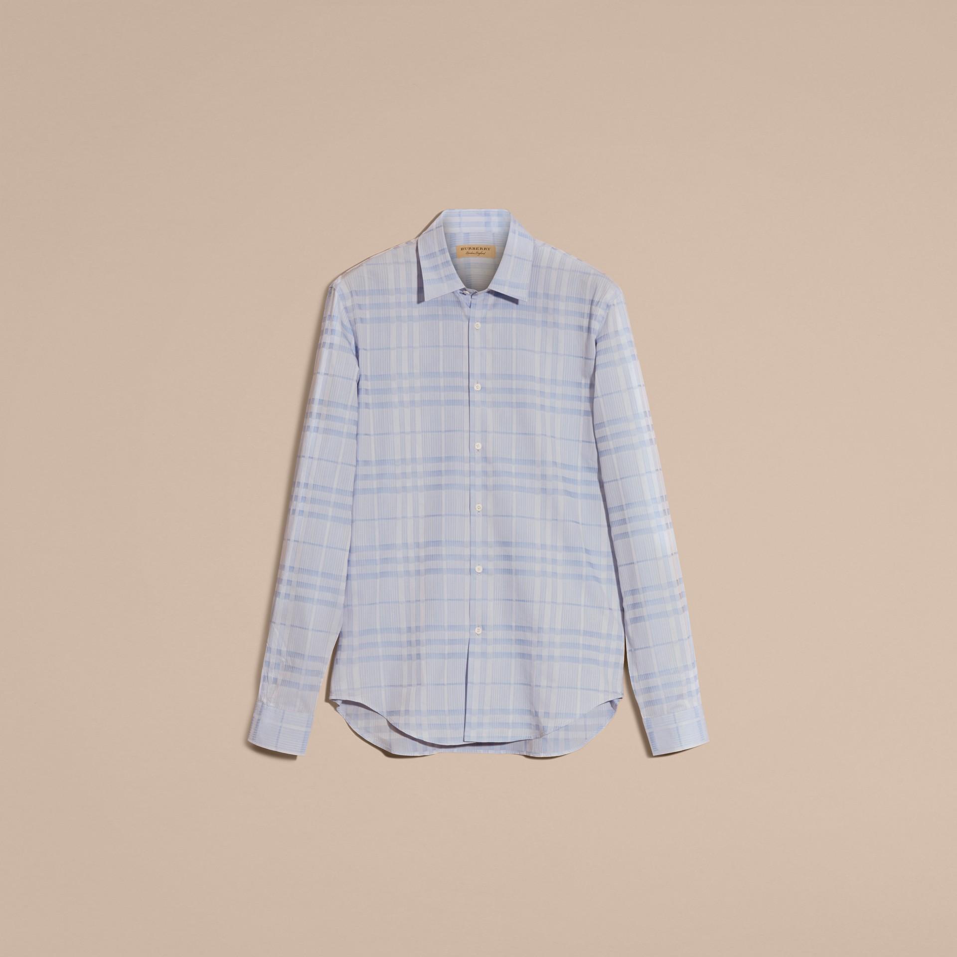 Bleu dragée Chemise en coton tissé en jacquard à motif check Bleu Dragée - photo de la galerie 4
