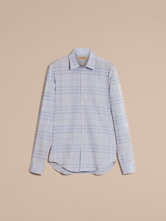 Bleu dragée Chemise en coton tissé en jacquard à motif check Bleu Dragée - cell image 3