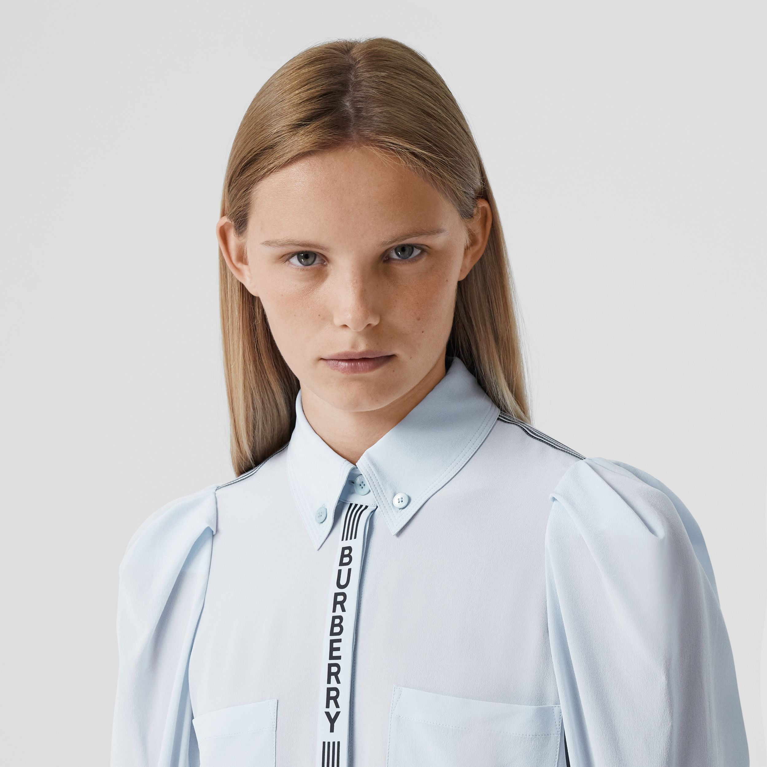 Logo Print Silk Crepe De Chine Shirt - Women | Burberry - 2
