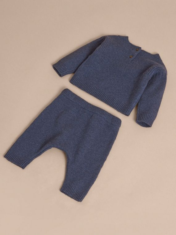 Cashmere Two-piece Baby Gift Set in Mineral Blue | Burberry United States - cell image 2