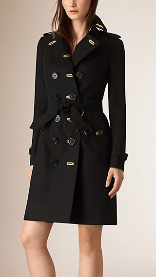 Military Braid Cotton Gabardine Trench Coat