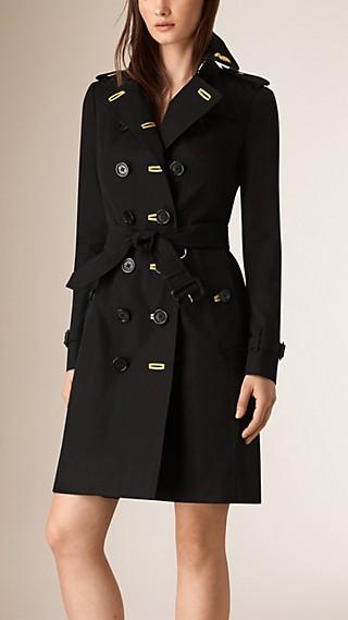 Trench coat en algodón de gabardina con detalles metalizados