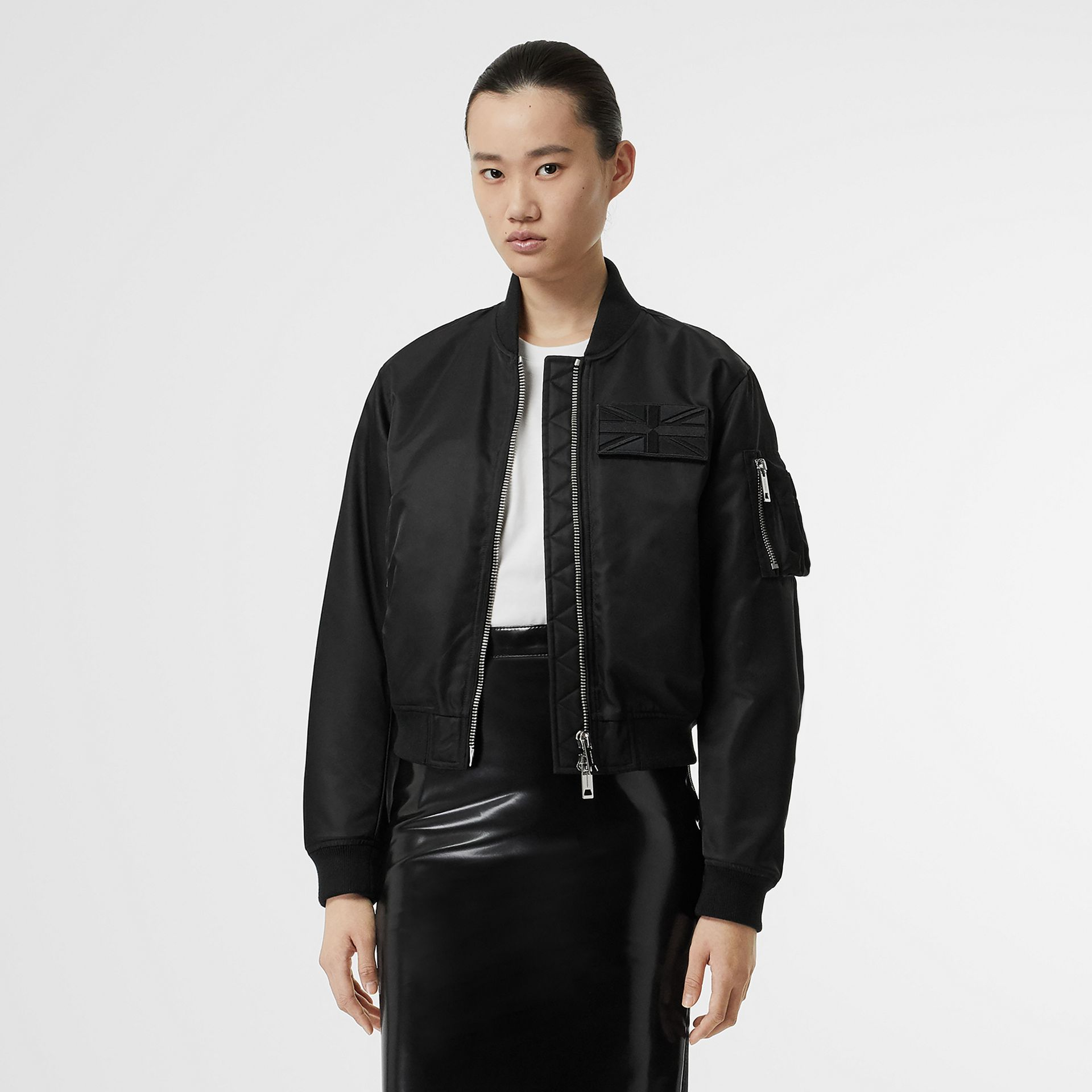 Union Jack Motif Nylon Bomber Jacket in Black - Women | Burberry - gallery image 0
