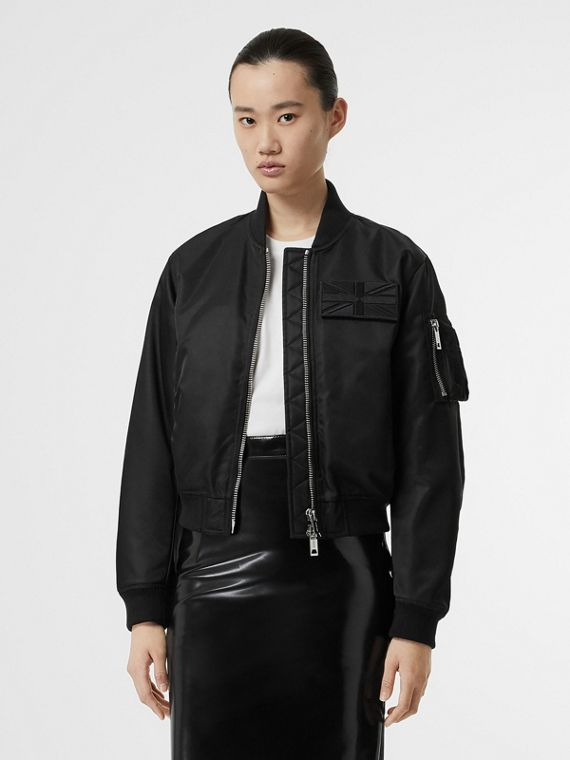 Union Jack Motif Nylon Bomber Jacket in Black