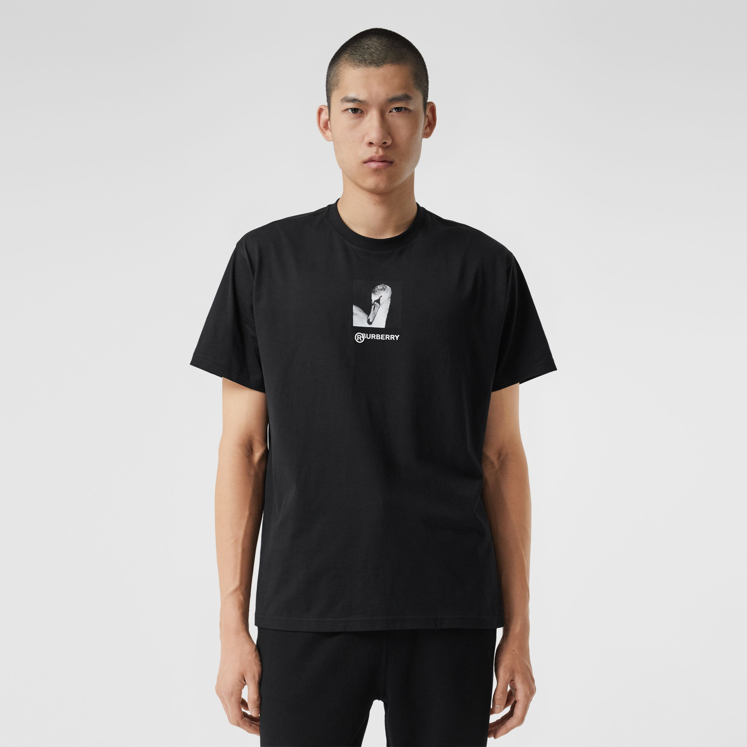 Swan and Logo Print Cotton Oversized T-shirt - Men | Burberry - 1