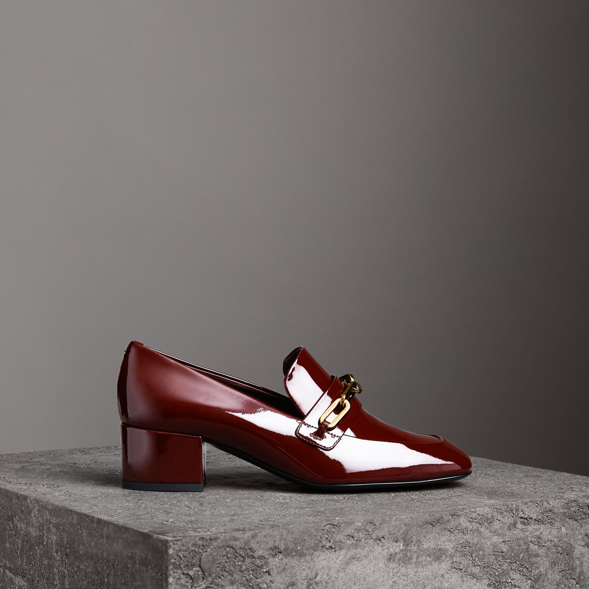 Link Detail Patent Leather Block-heel Loafers in Burgundy Red - Women | Burberry Canada - gallery image 0