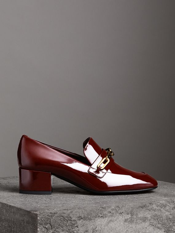 Link Detail Patent Leather Block-heel Loafers in Burgundy Red