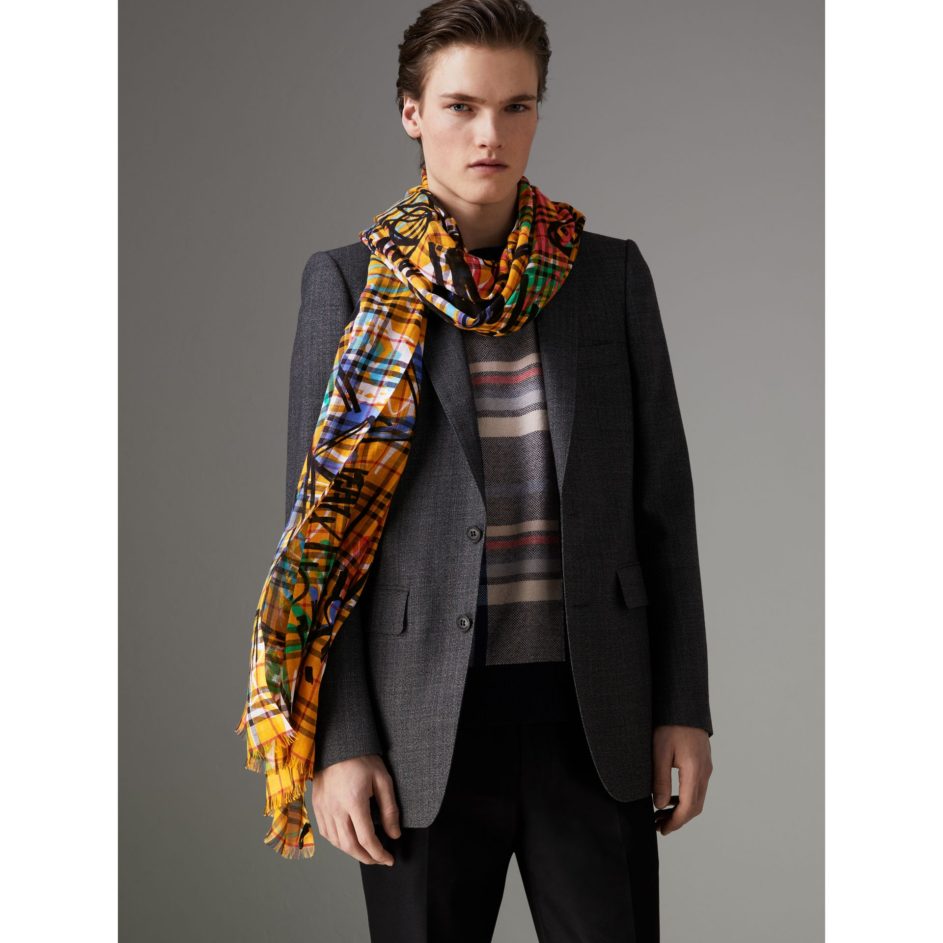 Graffiti Print Vintage Check Wool Silk Scarf in Amber Yellow | Burberry - gallery image 3