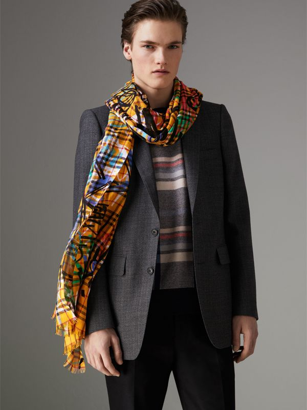 Graffiti Print Vintage Check Wool Silk Scarf in Amber Yellow | Burberry Canada - cell image 3