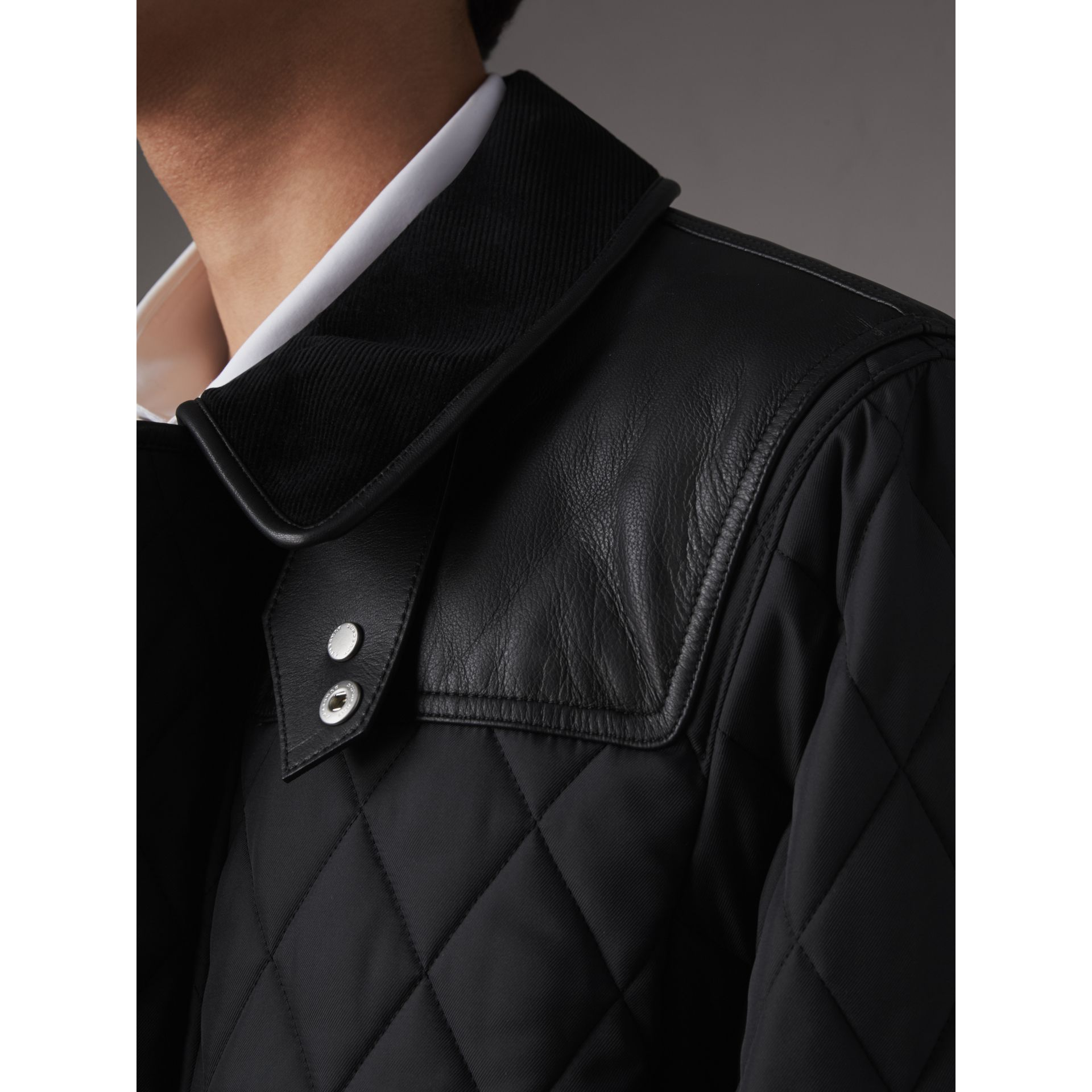 Lambskin Yoke Diamond Quilted Jacket in Black - Men | Burberry United Kingdom - gallery image 1