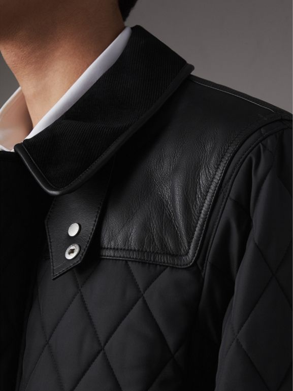 Lambskin Yoke Diamond Quilted Jacket in Black - Men | Burberry United States - cell image 1