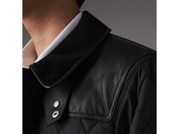 Lambskin Yoke Diamond Quilted Jacket in Black - Men | Burberry United Kingdom - cell image 1