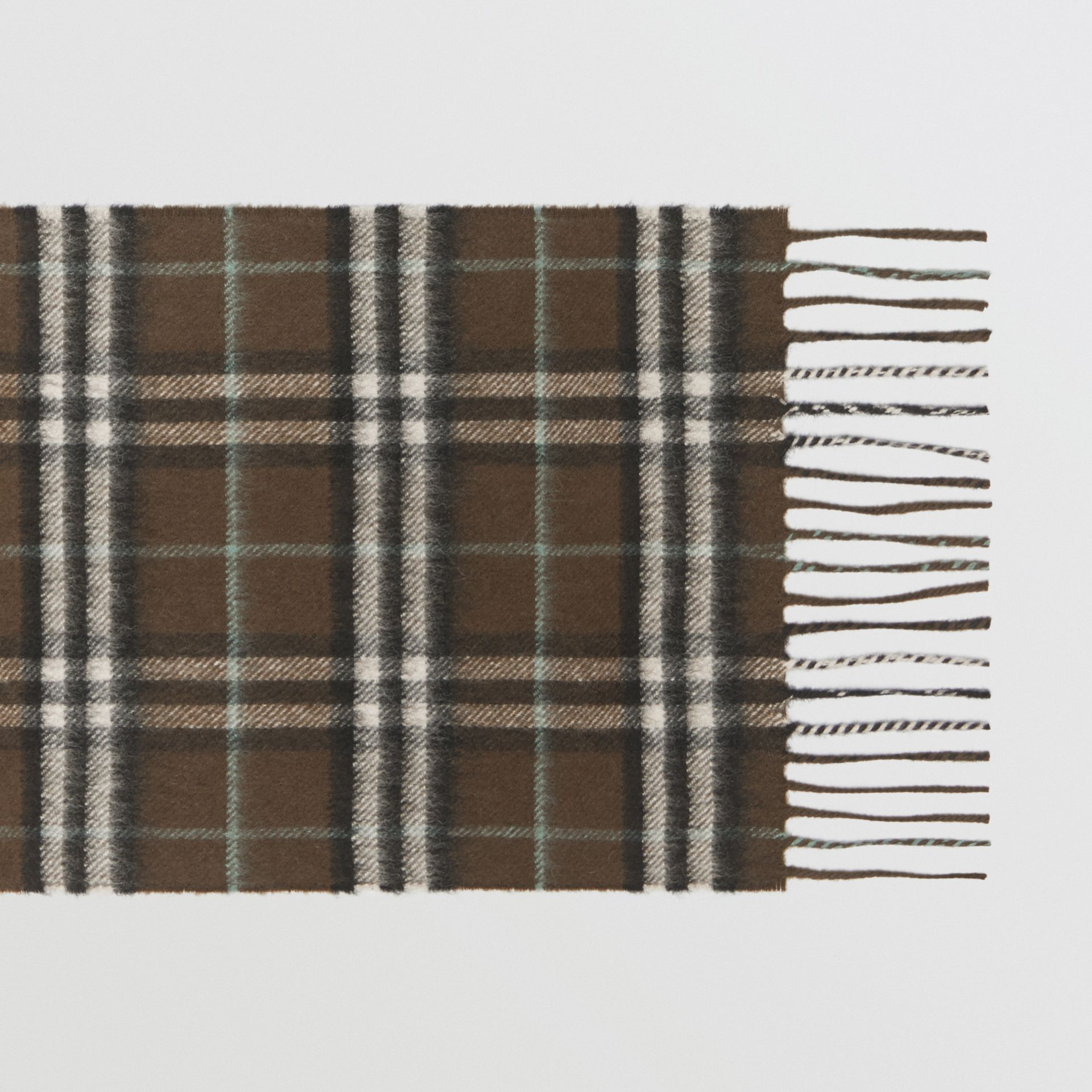 The Mini Classic Vintage Check Cashmere Scarf in Military Brown - Children | Burberry United Kingdom - gallery image 1