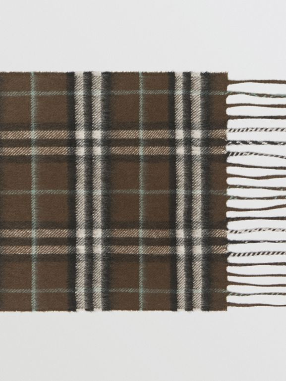 The Mini Classic Vintage Check Cashmere Scarf in Military Brown - Children | Burberry United Kingdom - cell image 1