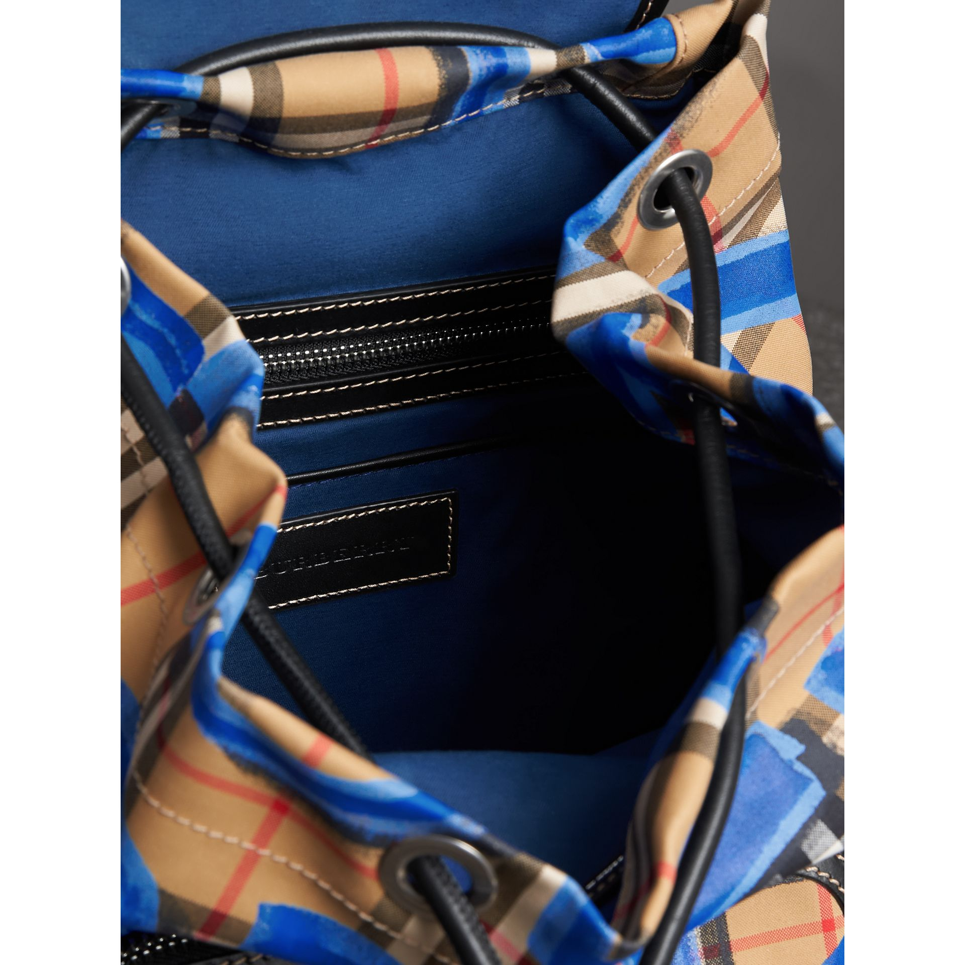 The Medium Rucksack in Graffiti Print Vintage Check in Black - Women | Burberry Australia - gallery image 3