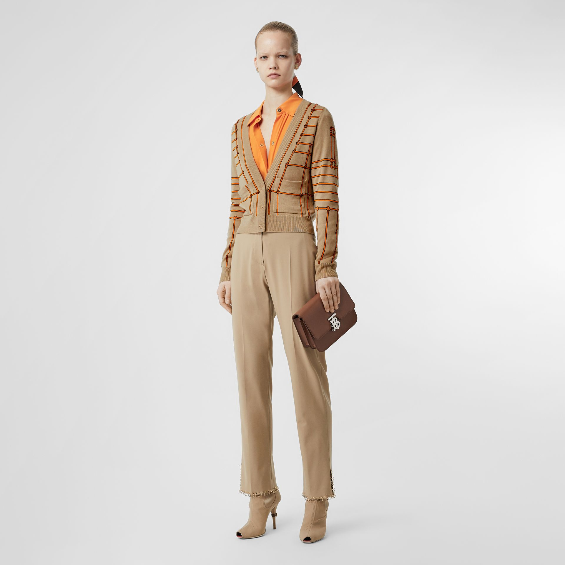 Rope Silk Wool Jacquard V-neck Cardigan in Honey - Women | Burberry Australia - gallery image 0