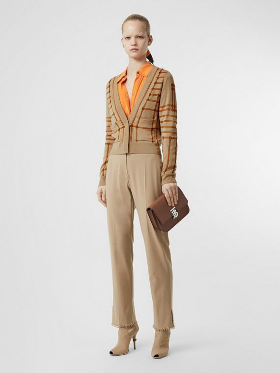 Rope Silk Wool Jacquard V-neck Cardigan in Honey