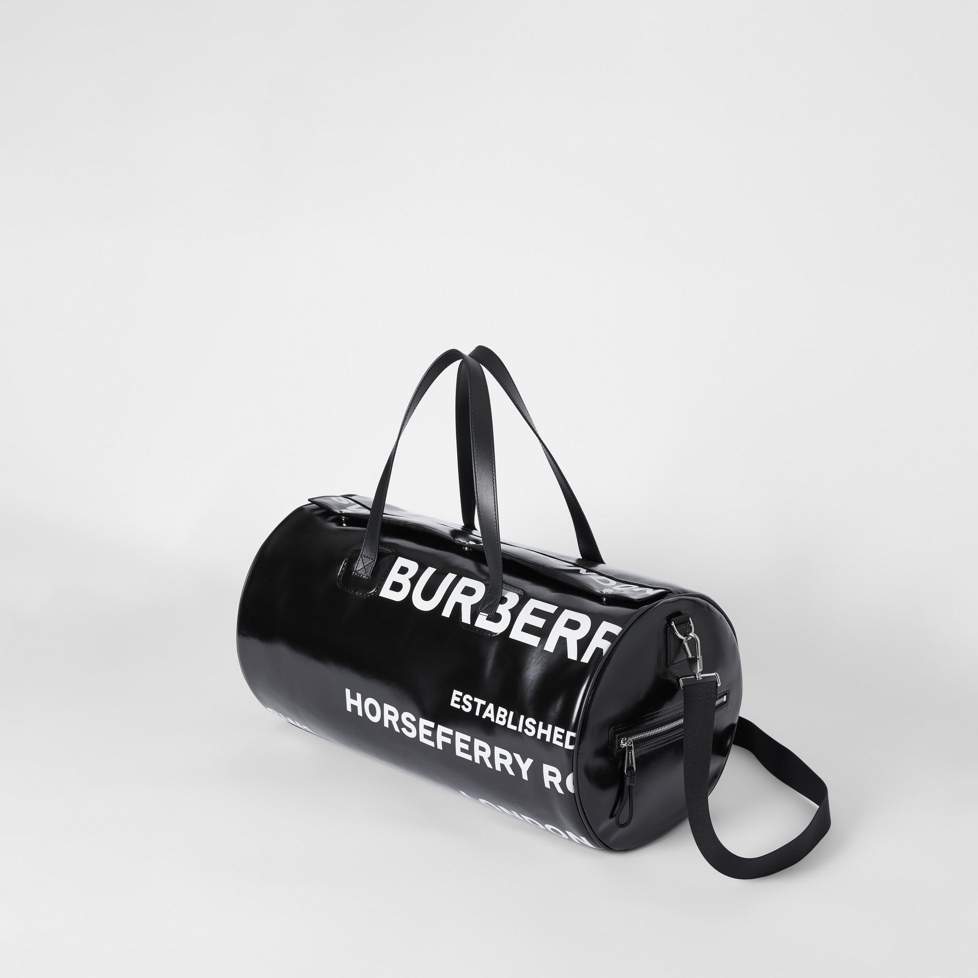 Large Horseferry Print Coated Canvas Barrel Bag in Black | Burberry United Kingdom - gallery image 3