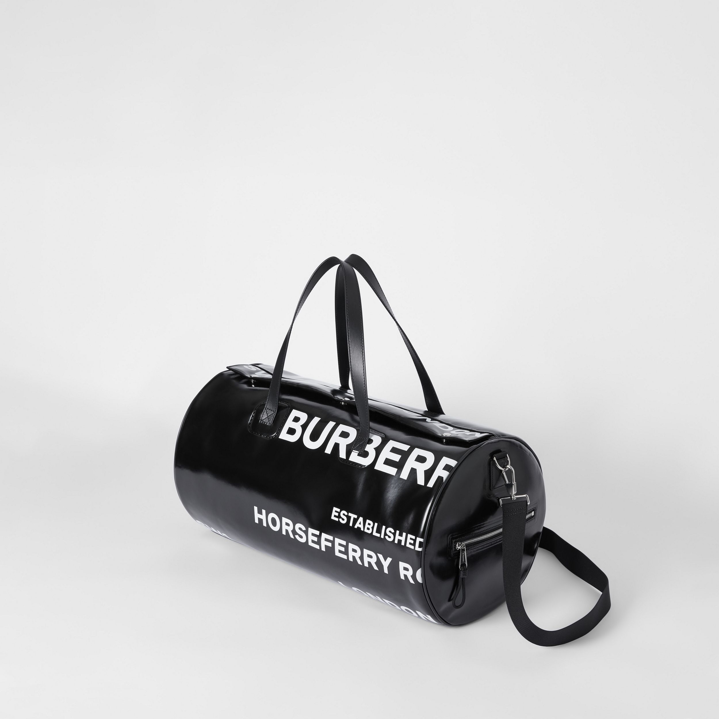 Large Horseferry Print Coated Canvas Barrel Bag in Black | Burberry - 4
