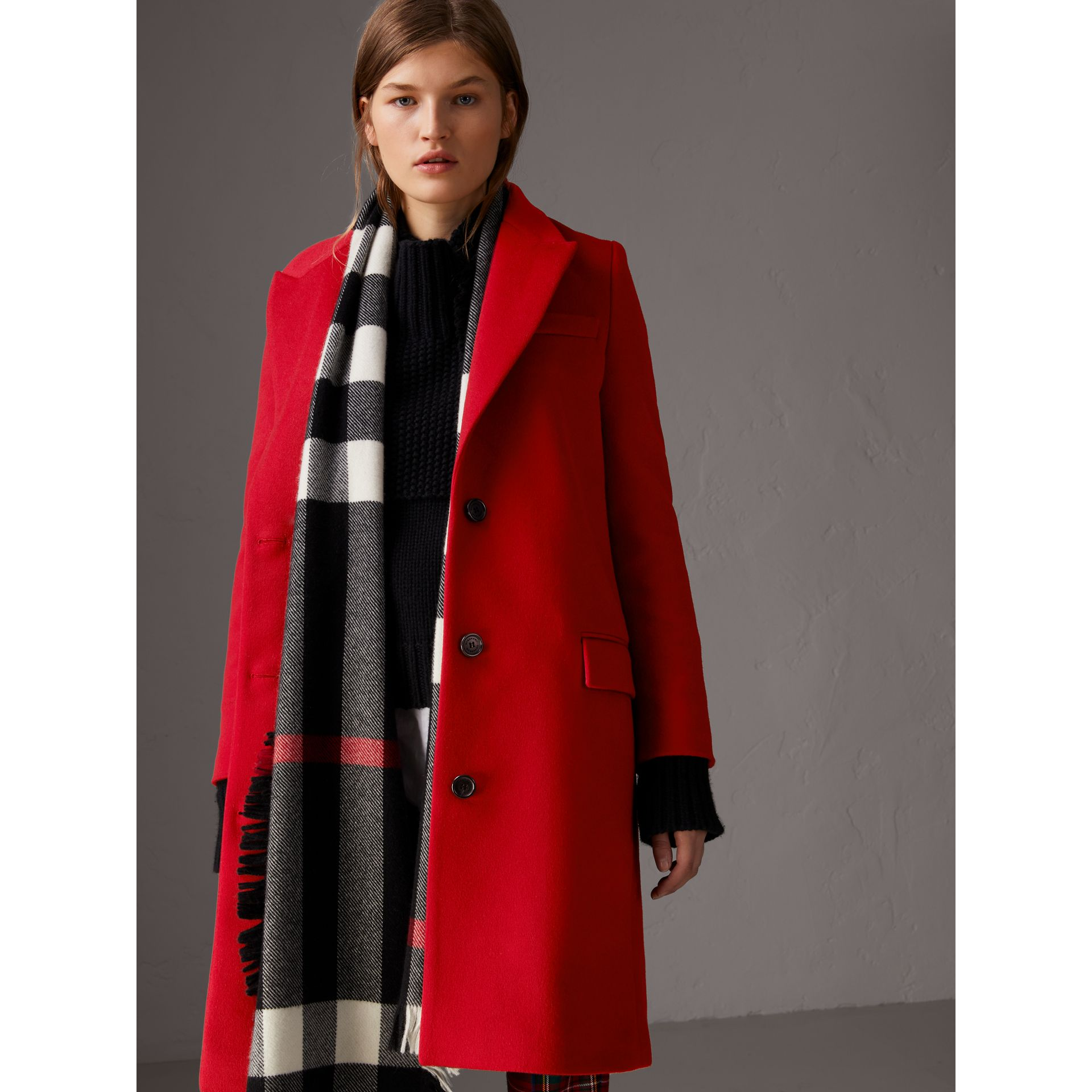Wool Cashmere Tailored Coat in Parade Red - Women | Burberry Singapore - gallery image 6