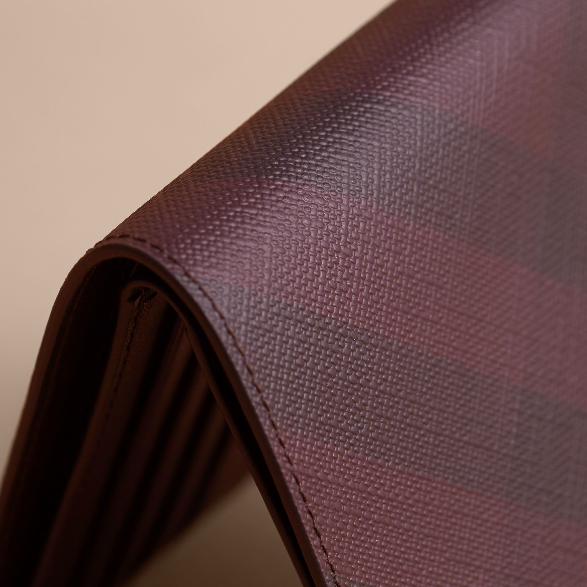 London Check Folding Wallet in Deep Claret - Men | Burberry Singapore - gallery image 2