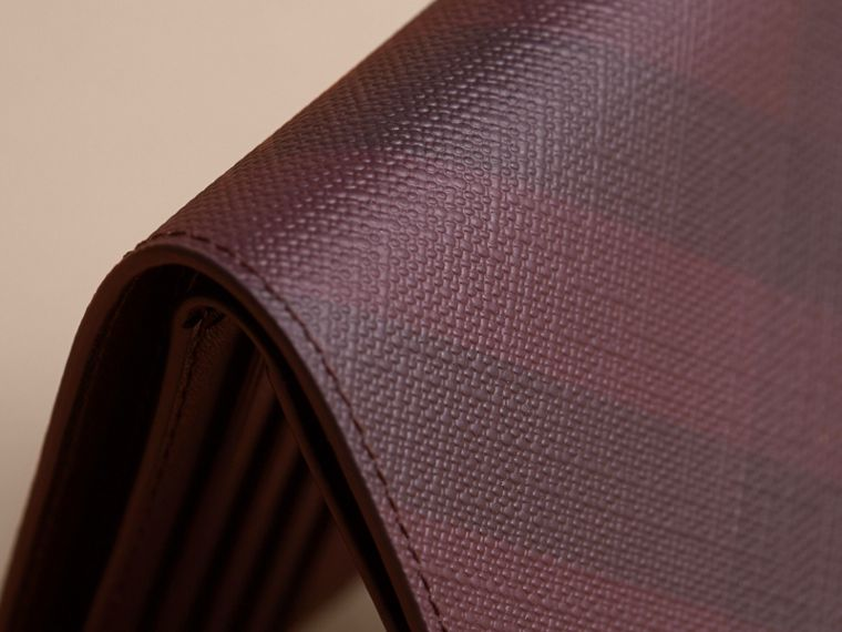 London Check Folding Wallet in Deep Claret - Men | Burberry Canada - cell image 1