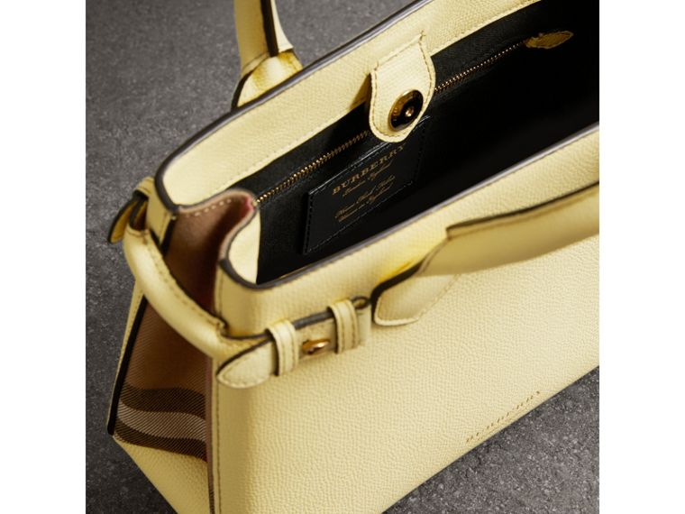The Small Banner in Leather and House Check in Camomile Yellow - Women | Burberry - cell image 4
