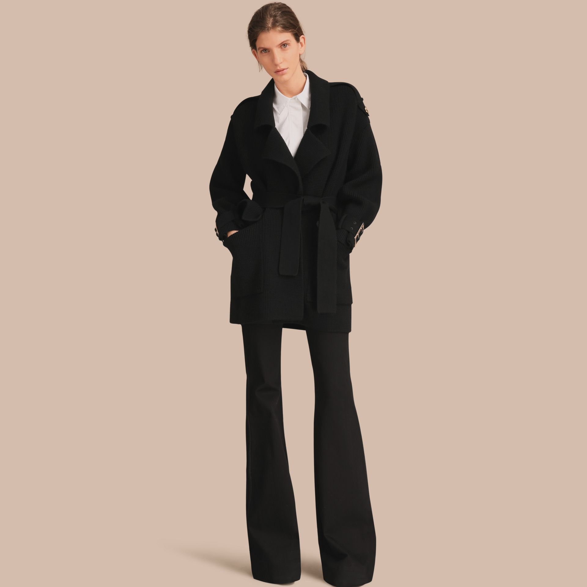 Knitted Wool Cashmere Blend Trench Coat - gallery image 1