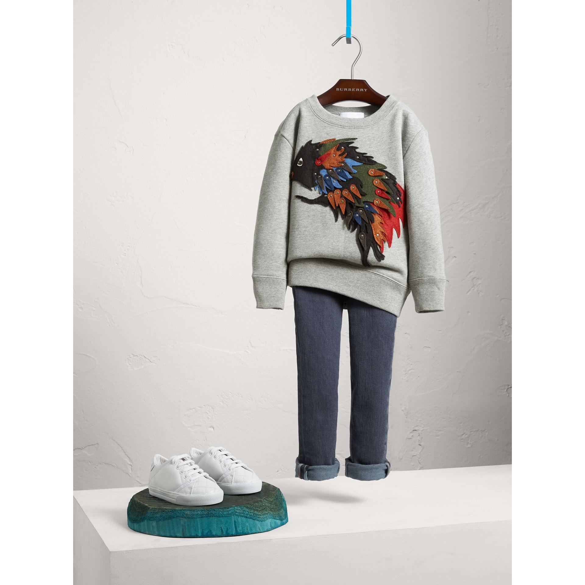 Beasts Appliqué Cotton Jersey Sweatshirt in Grey Melange - Boy | Burberry Canada - gallery image 0