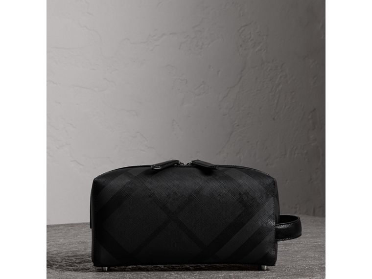 London Check and Leather Pouch in Charcoal/black - Men | Burberry - cell image 4