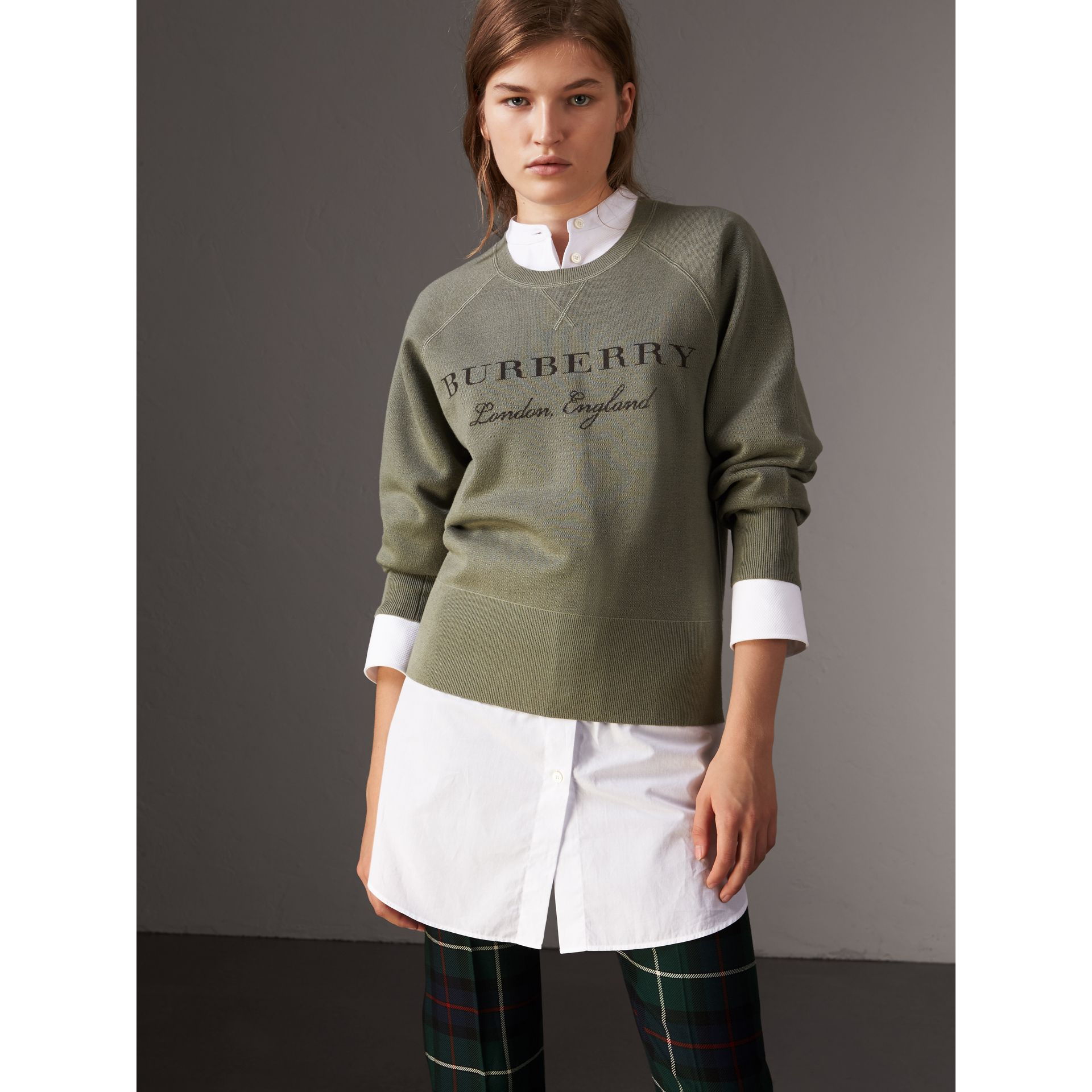 Lightweight Merino Wool Silk Sweater in Aqua Green - Women | Burberry - gallery image 1