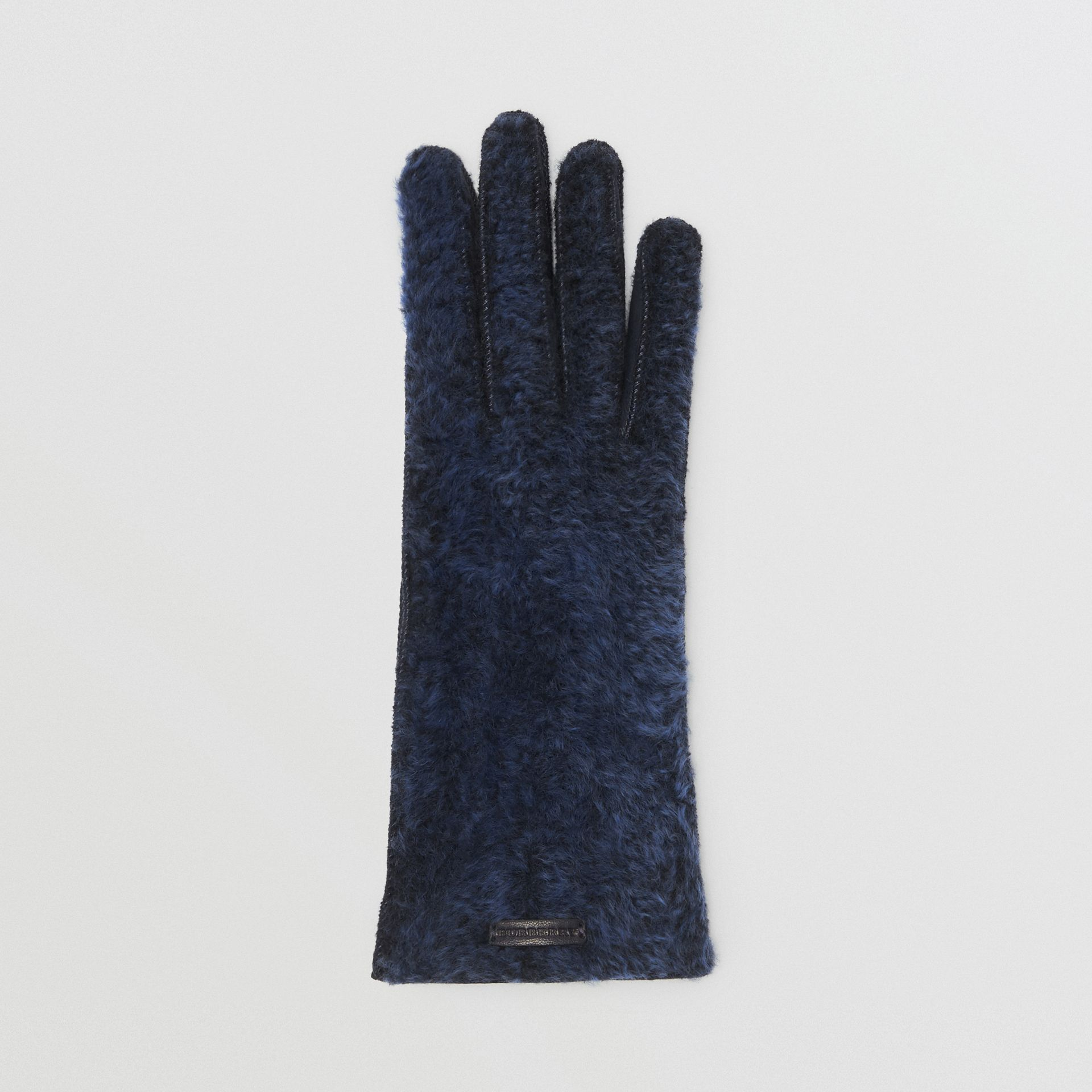 Shearling and Leather Gloves in Navy | Burberry - gallery image 2