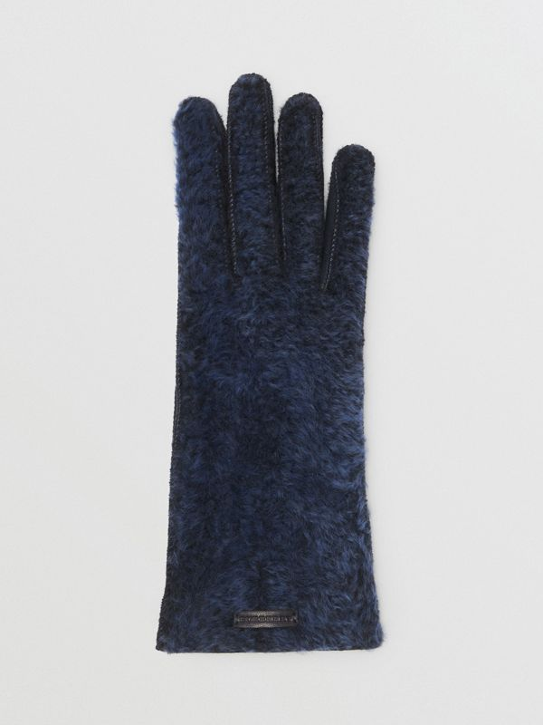 Shearling and Leather Gloves in Navy | Burberry - cell image 2