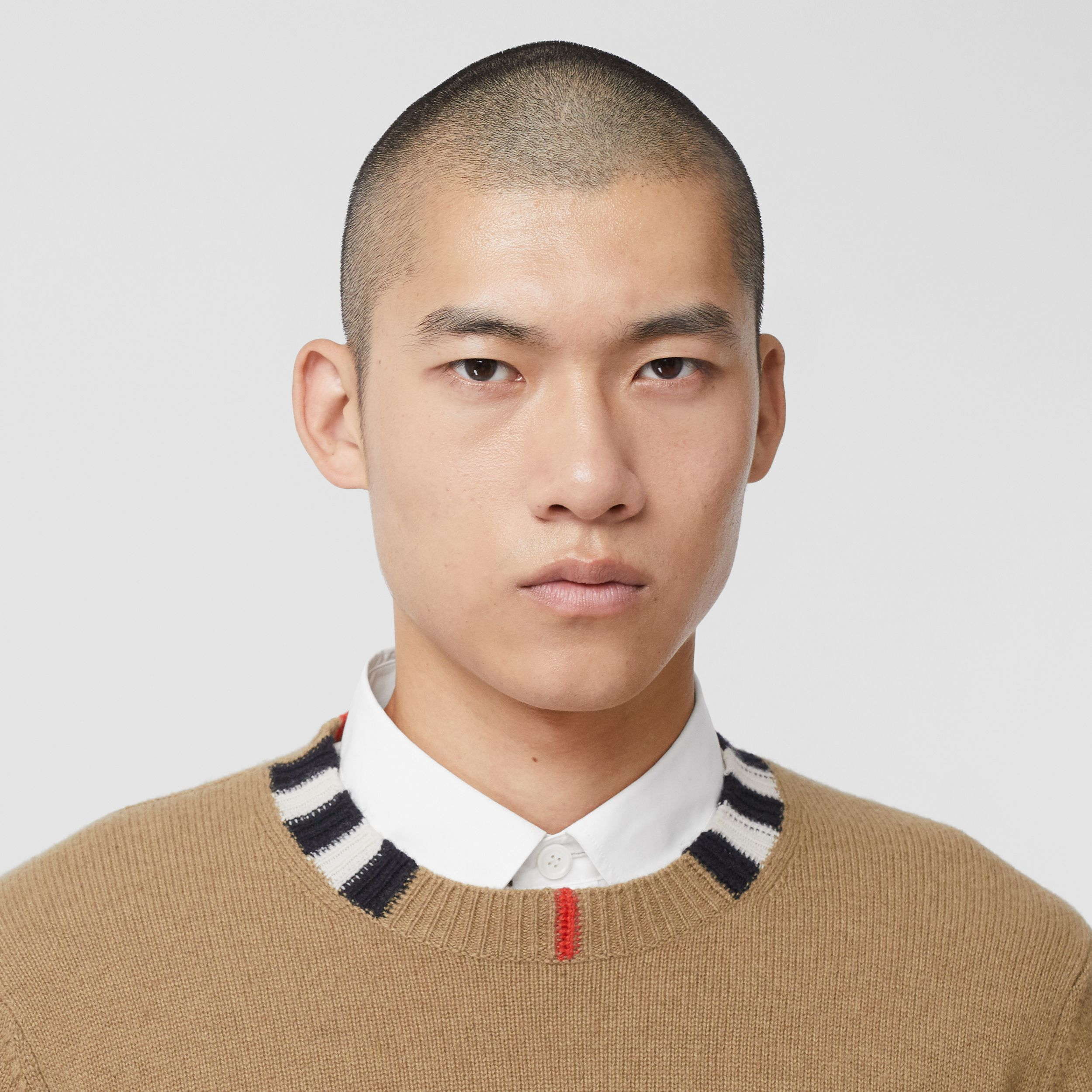 Icon Stripe Trim Cashmere Sweater in Camel - Men | Burberry - 2