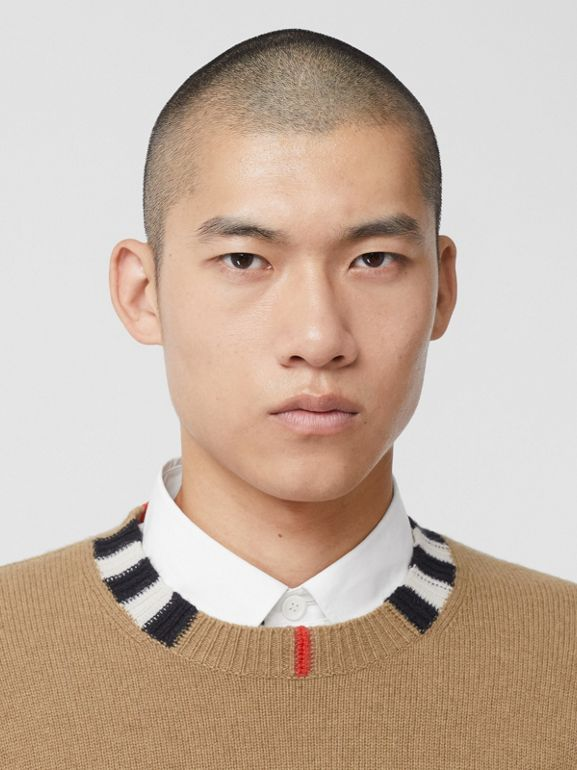 Icon Stripe Trim Cashmere Sweater in Camel - Men | Burberry - cell image 1